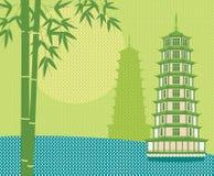 Tarjeta de la pagoda ilustración del vector