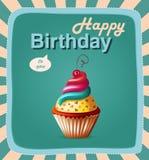 Tarjeta de la plantilla del feliz cumpleaños con la torta y el texto Imágenes de archivo libres de regalías