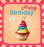 Tarjeta de la plantilla del feliz cumpleaños con la torta y el texto Foto de archivo libre de regalías