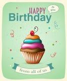 Tarjeta de la plantilla del feliz cumpleaños con la torta y el texto Imagen de archivo