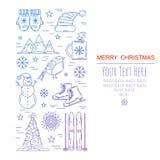Tarjeta de la plantilla del marco de la Navidad Imagen de archivo libre de regalías