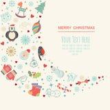 Tarjeta de la plantilla del marco de la Navidad Fotos de archivo