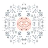 Tarjeta de la plantilla del marco de la Navidad Fotos de archivo libres de regalías