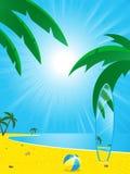 Tarjeta de la playa y de resaca del verano Imagen de archivo