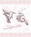 Tarjeta de la primavera del saludo con una composición de pájaros, de flores y del él stock de ilustración