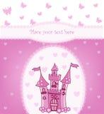 Tarjeta de la princesa con el castillo mágico Fotos de archivo libres de regalías