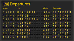 Tarjeta de la salida - aeropuertos de la destinación. Imágenes de archivo libres de regalías