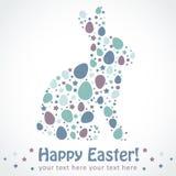 Tarjeta de la silueta del conejito de los huevos de Pascua Fotos de archivo libres de regalías