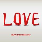 Tarjeta de la tarjeta del día de San Valentín con amor de papel rojo doblado Imagen de archivo libre de regalías