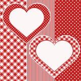 Tarjeta de la tarjeta del día de San Valentín con dos corazones Foto de archivo