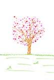 Tarjeta de la tarjeta del día de San Valentín con el árbol y corazones aislados Imagen de archivo libre de regalías