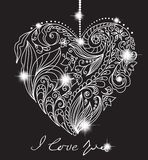 Tarjeta de la tarjeta del día de San Valentín con el corazón blanco y negro floral Foto de archivo libre de regalías
