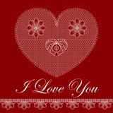 Tarjeta de la tarjeta del día de San Valentín con el corazón del cordón Imagen de archivo