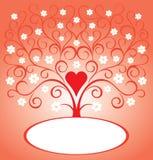 Tarjeta de la tarjeta del día de San Valentín con el corazón y el árbol floreciente Imagen de archivo libre de regalías