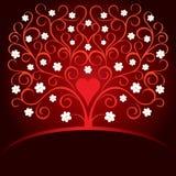Tarjeta de la tarjeta del día de San Valentín con el corazón y el árbol floreciente Imágenes de archivo libres de regalías