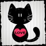 Tarjeta de la tarjeta del día de San Valentín con el gato Fotografía de archivo
