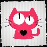 Tarjeta de la tarjeta del día de San Valentín con el gato Imagenes de archivo
