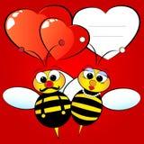 Tarjeta de la tarjeta del día de San Valentín con las abejas Imagen de archivo libre de regalías