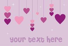 Tarjeta de la tarjeta del día de San Valentín con los corazones Imagen de archivo