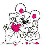Tarjeta de la tarjeta del día de San Valentín de la fresa del oso del bebé Imagenes de archivo