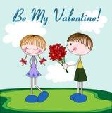 Tarjeta de la tarjeta del día de San Valentín de la historieta con la muchacha y el muchacho Fotografía de archivo libre de regalías