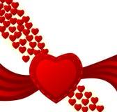 Tarjeta de la tarjeta del día de San Valentín de los corazones que fluye Imagenes de archivo