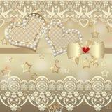Tarjeta de la tarjeta del día de San Valentín del álbum con los corazones y cordón en de oro Imagenes de archivo