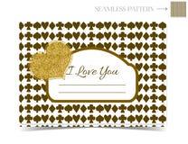 Tarjeta de la tarjeta del día de San Valentín del brillo del oro para Valentine Day Imagenes de archivo