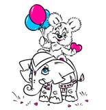 Tarjeta de la tarjeta del día de San Valentín del elefante y del oso Fotografía de archivo
