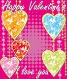 Tarjeta de la tarjeta del día de San Valentín del St en rosa Fotografía de archivo libre de regalías