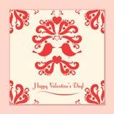 Tarjeta de la tarjeta del día de San Valentín del vector con los pájaros lindos Foto de archivo