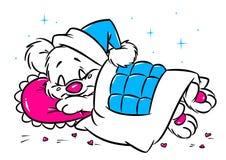 Tarjeta de la tarjeta del día de San Valentín el dormir del oso del bebé Foto de archivo