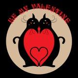 Tarjeta de la tarjeta del día de San Valentín con dos gatos negros Fotografía de archivo libre de regalías