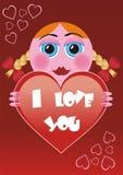 Tarjeta de la tarjeta del día de San Valentín de la historieta Imagenes de archivo