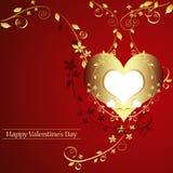 Tarjeta de la tarjeta del día de San Valentín de oro.   Foto de archivo