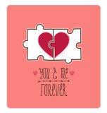 Tarjeta de la tarjeta del día de San Valentín del vector Idea creativa - rompecabezas con Imágenes de archivo libres de regalías