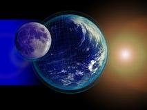 Tarjeta de la tierra y de la luna Fotos de archivo