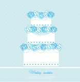 Tarjeta de la torta de boda Fotografía de archivo libre de regalías