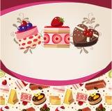 Tarjeta de la torta de la historieta Imagenes de archivo
