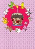 Tarjeta de la torta de los animales Imagen de archivo
