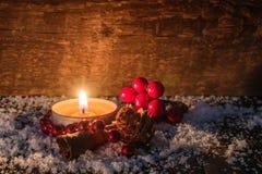 Tarjeta de la vela de Tealight de la Navidad Imagen de archivo