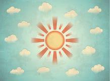Tarjeta de la vendimia con el sol Imagen de archivo