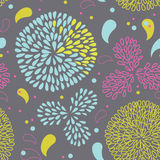 Tarjeta de la vendimia con las flores abstractas del crisantemo Imagen de archivo