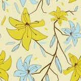 Tarjeta de la vendimia con las flores abstractas del lirio Foto de archivo libre de regalías