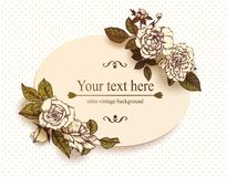 Tarjeta de la vendimia con las rosas drenadas mano Imagen de archivo