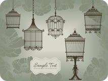 Tarjeta de la vendimia con los birdcages Fotos de archivo