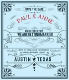 Tarjeta de la vendimia de la invitación de la boda Imagen de archivo libre de regalías