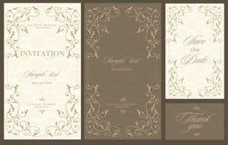 Tarjeta de la vendimia de la invitación de la boda Foto de archivo