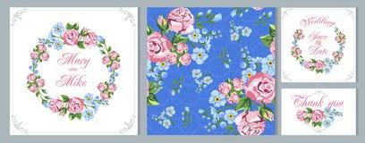 Tarjeta de la vendimia de la invitación de la boda Floral de guirnaldas el estilo rústico Flores apacibles Imágenes de archivo libres de regalías