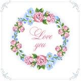 Tarjeta de la vendimia de la invitación Floral de guirnaldas el estilo rústico Flores apacibles Foto de archivo libre de regalías